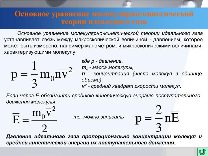Основное уравнение молекулярно-кинетической теории идеального газа