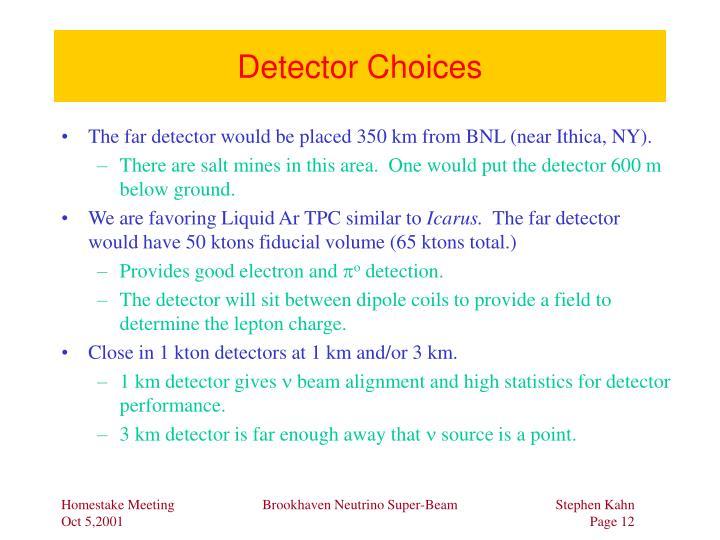 Detector Choices