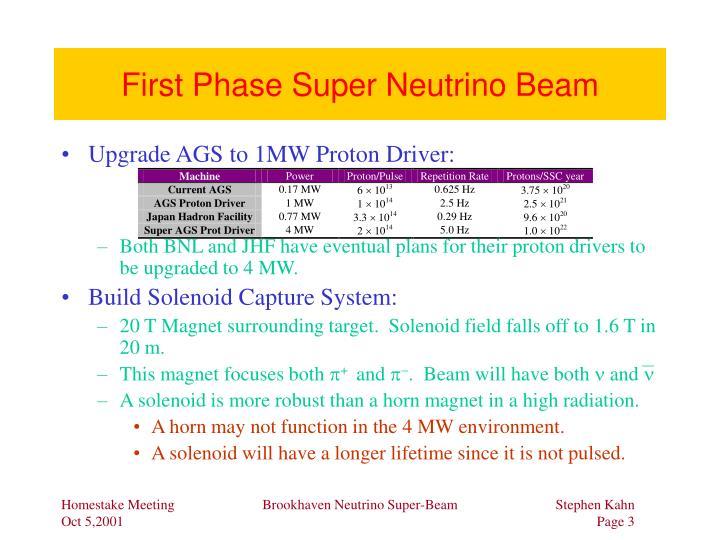 First Phase Super Neutrino Beam
