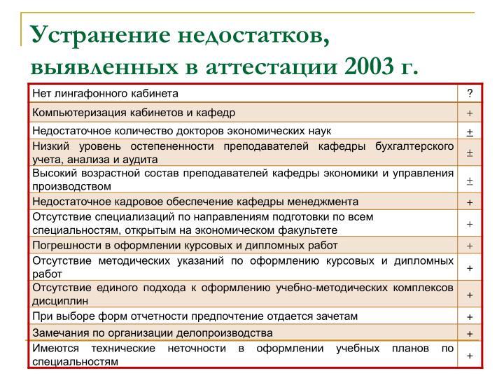 Устранение недостатков, выявленных в аттестации 2003 г.