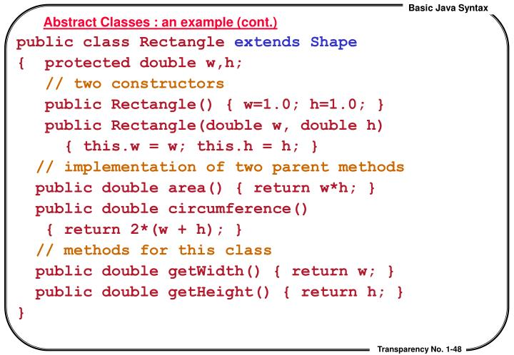 Abstract Classes : an example (cont.)