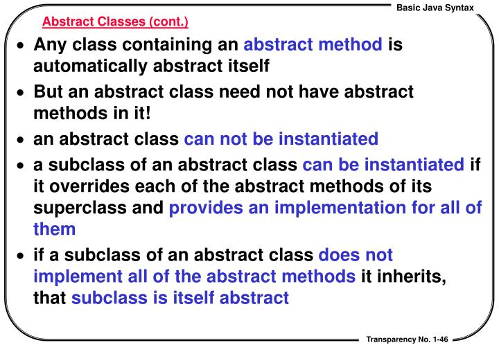 Abstract Classes (cont.)