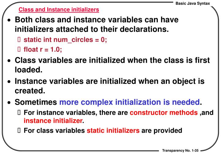 Class and Instance initializers