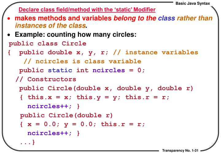 Declare class field/method with the 'static' Modifier