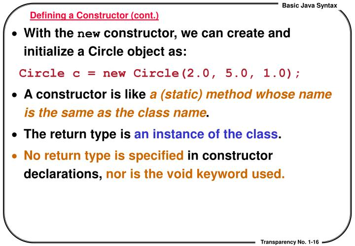 Defining a Constructor (cont.)