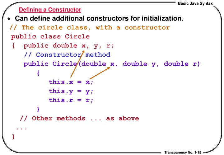 Defining a Constructor