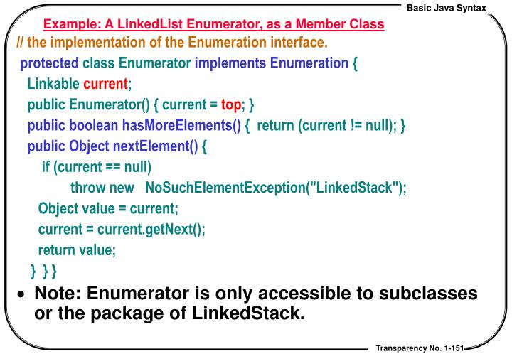 Example: A LinkedList Enumerator, as a Member Class