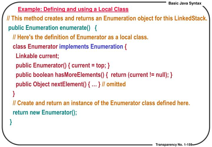 Example: Defining and using a Local Class