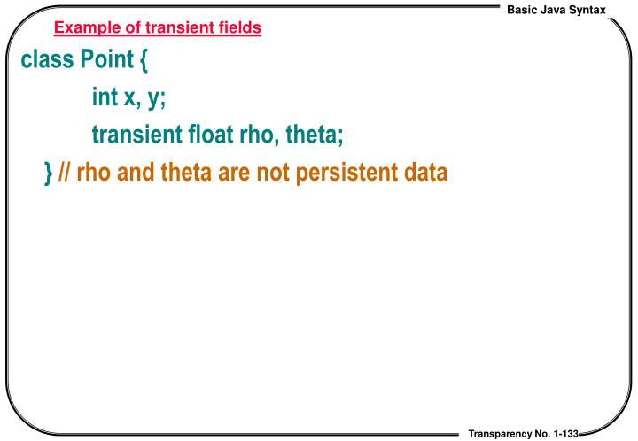 Example of transient fields
