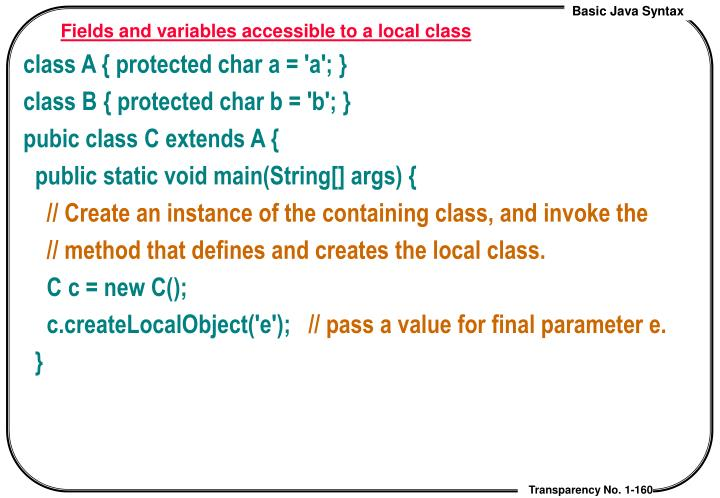 Fields and variables accessible to a local class