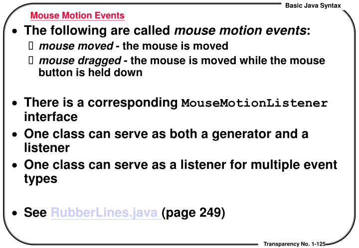 Mouse Motion Events