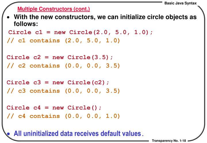 Multiple Constructors (cont.)
