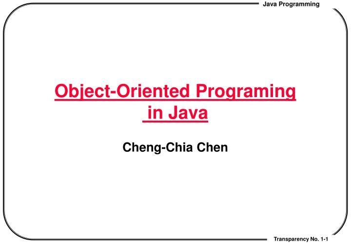 Object oriented programing in java