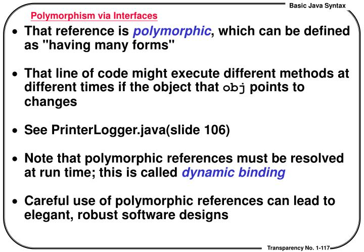 Polymorphism via Interfaces