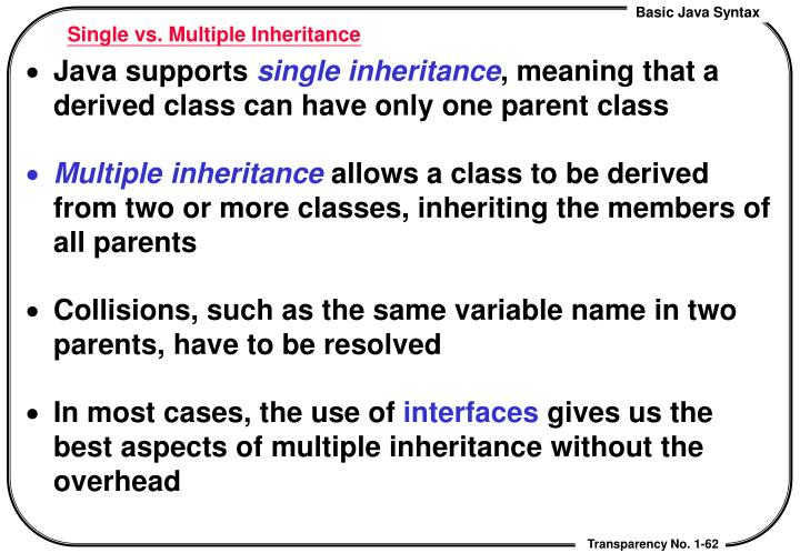 Single vs. Multiple Inheritance