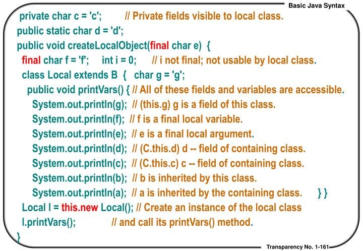 private char c = 'c';