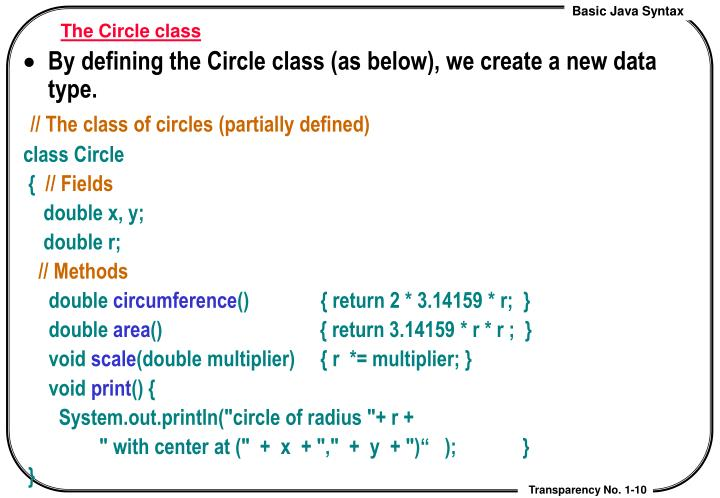 The Circle class