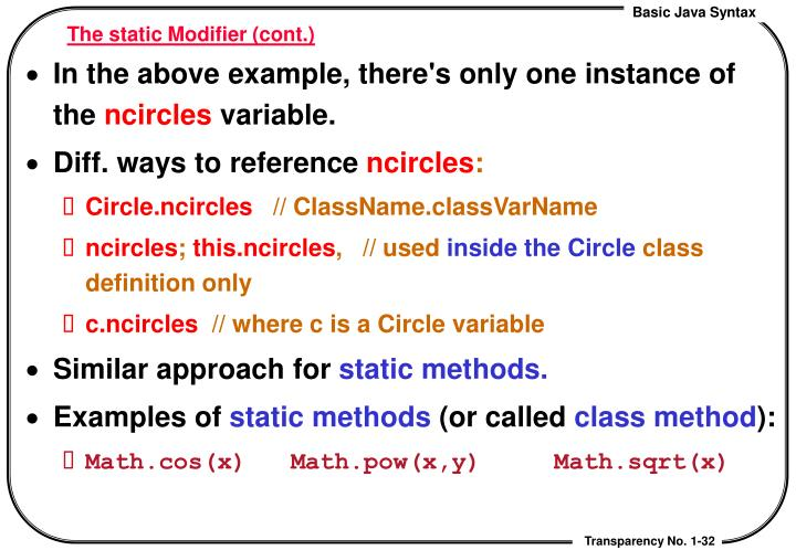 The static Modifier (cont.)