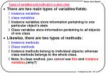 types of variables and methods in a java class