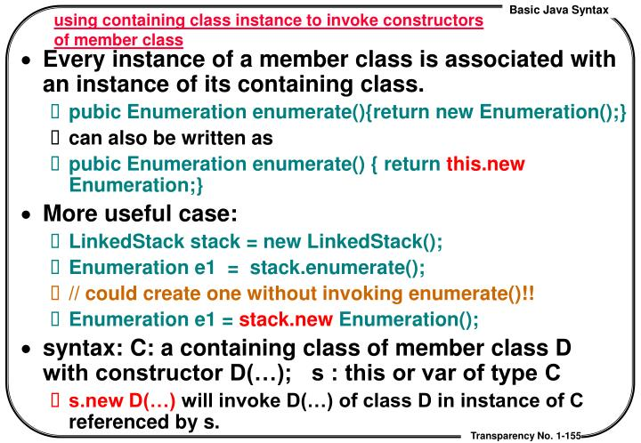 using containing class instance to invoke constructors