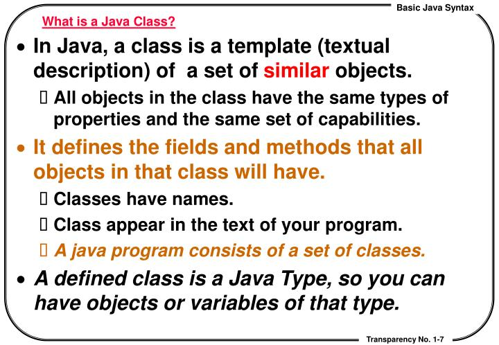 What is a Java Class?