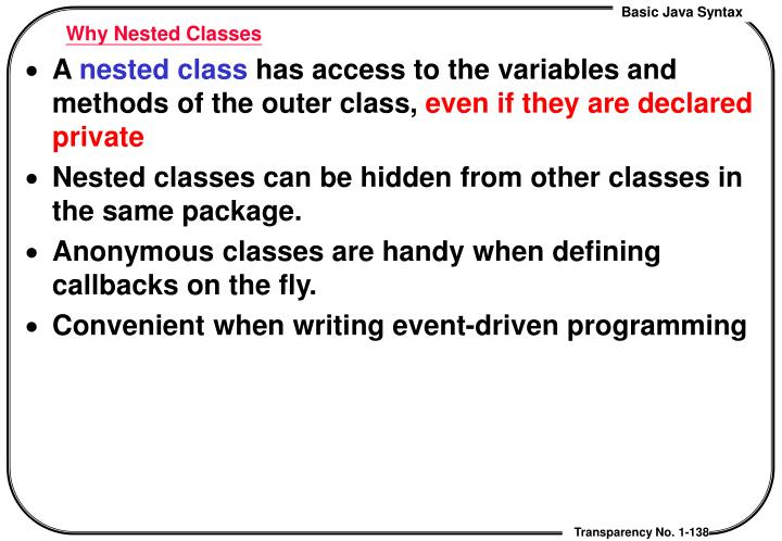 Why Nested Classes