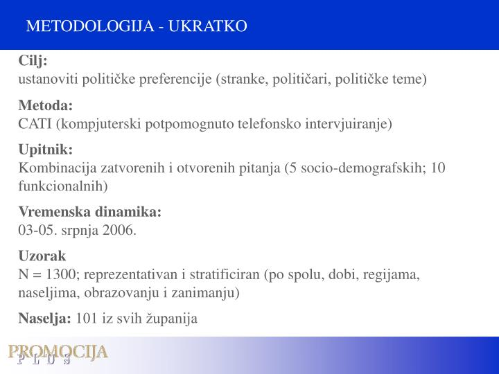 METODOLOGIJA - UKRATKO