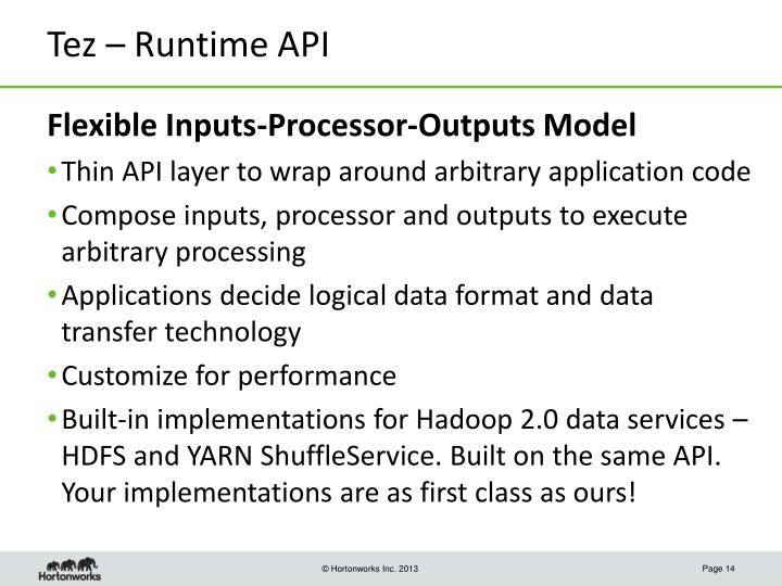 Tez – Runtime API