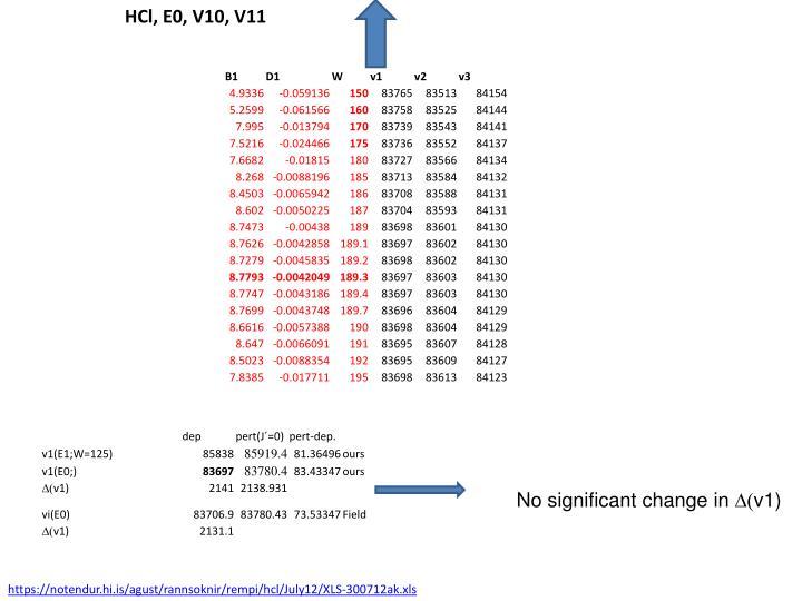 HCl, E0, V10, V11