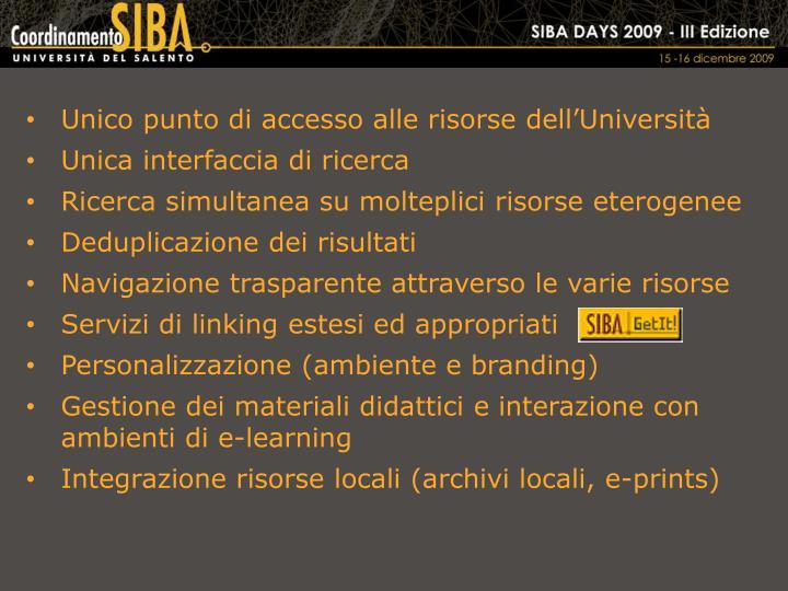 Unico punto di accesso alle risorse dell'Università