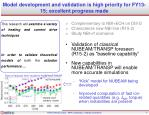 model development and validation is high priority for fy13 15 excellent progress made
