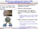 nstx u can contribute with studies of nbi and nbi hhfw mhfw experiments