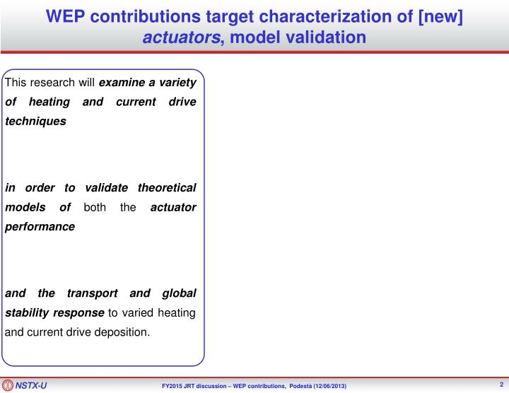 WEP contributions target characterization of [new]