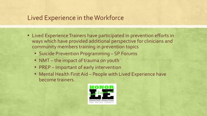Lived Experience in the Workforce