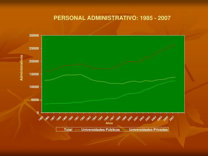 PERSONAL ADMINISTRATIVO: 1985 - 2007