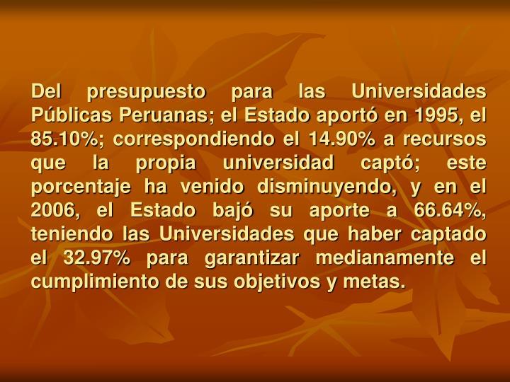 Del presupuesto para las Universidades Públicas Peruanas; el Estado aportó en 1995, el 85.10%; correspondiendo el 14.90% a recursos que la propia universidad captó; este porcentaje ha venido disminuyendo, y en el 2006, el Estado bajó su aporte a 66.64%, teniendo las Universidades que haber captado el 32.97% para garantizar medianamente el cumplimiento de sus objetivos y metas.