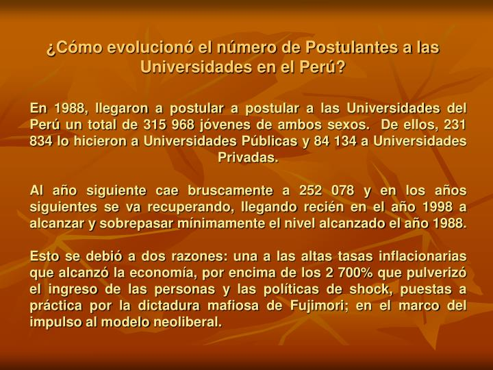 ¿Cómo evolucionó el número de Postulantes a las Universidades en el Perú?