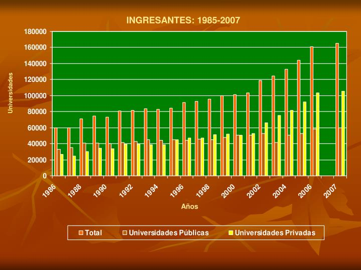 INGRESANTES: 1985-2007