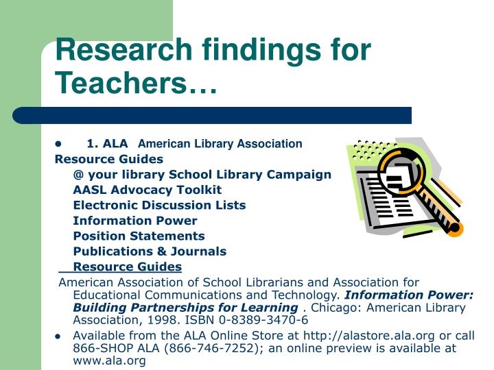 Research findings for Teachers…