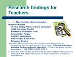research findings for teachers