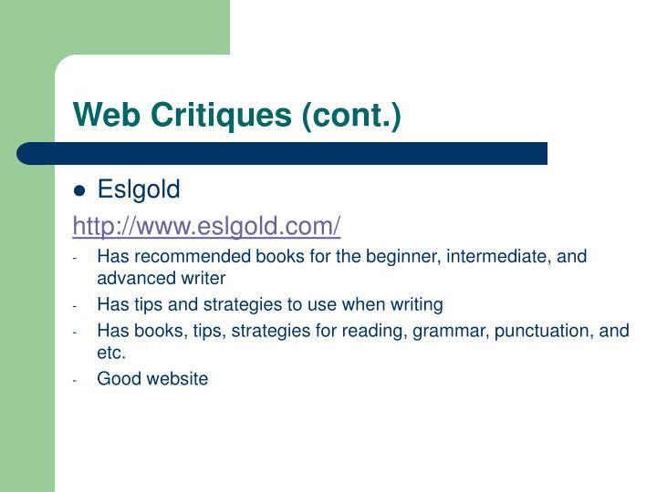 Web Critiques (cont.)