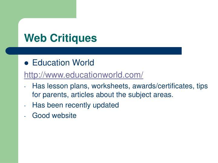 Web Critiques