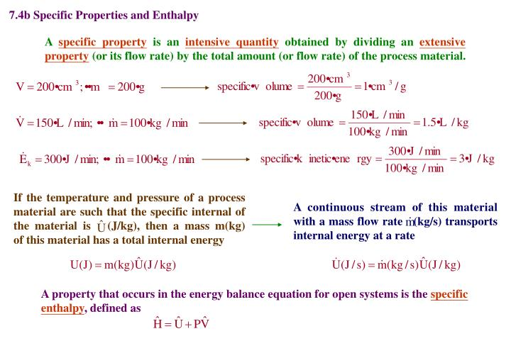7.4b Specific Properties and Enthalpy