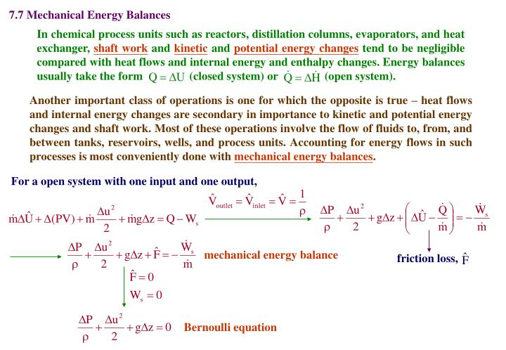 7.7 Mechanical Energy Balances