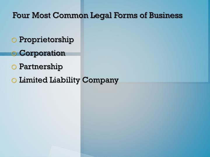 Four Most Common Legal Forms of Business