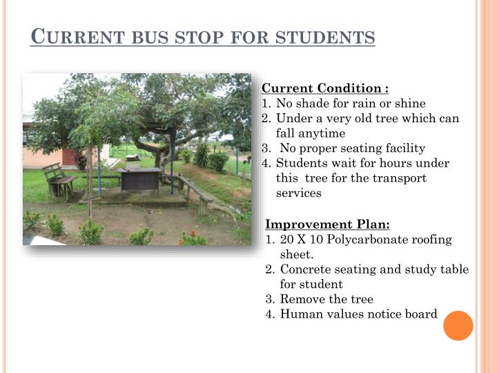 Current bus stop for students