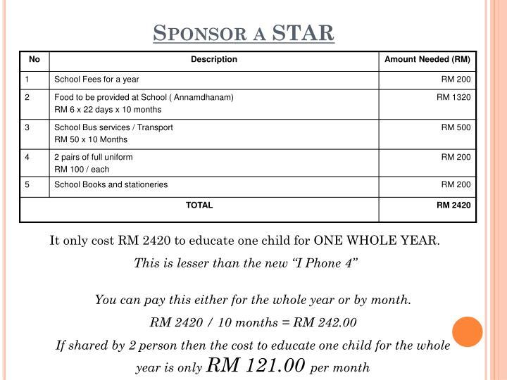 Sponsor a STAR
