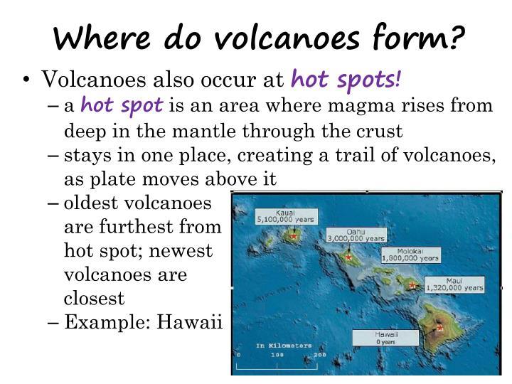 Where do volcanoes form?