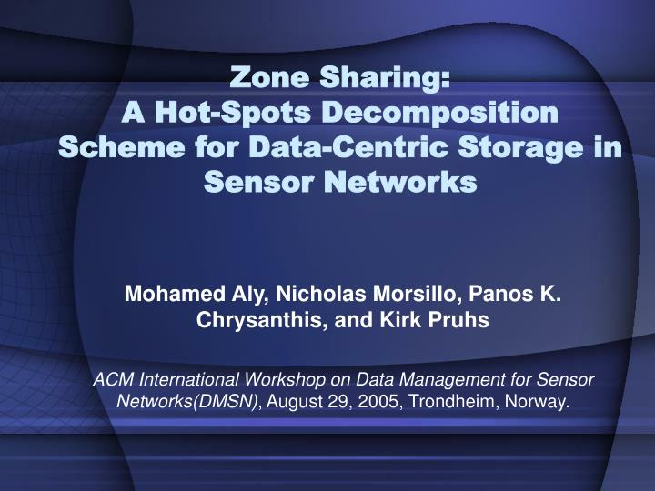 Zone sharing a hot spots decomposition scheme for data centric storage in sensor networks