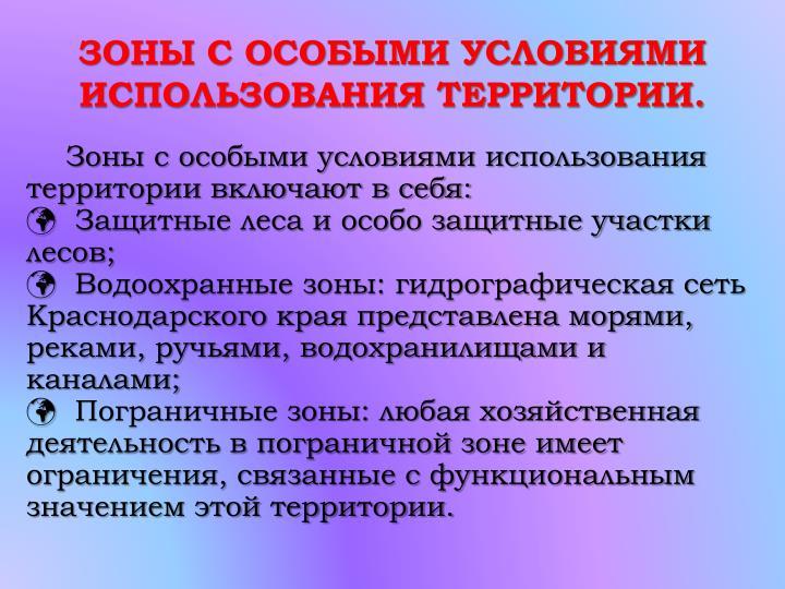 ЗОНЫ С ОСОБЫМИ УСЛОВИЯМИ ИСПОЛЬЗОВАНИЯ ТЕРРИТОРИИ.